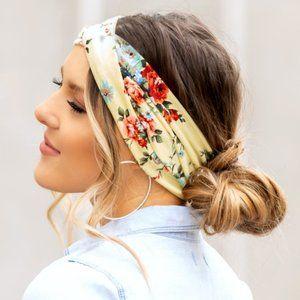 Yellow, Red & Blue Floral Twist Headband